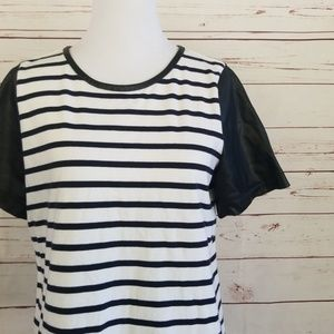 Ann Taylor faux leather sleeve top M